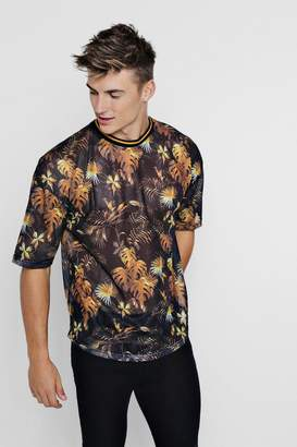 boohoo Loose Fit Floral Mesh Sport Rib T-Shirt