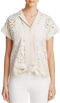 Lafayette 148 New York Hand Embroidered Tie-Front Blouse $498 thestylecure.com