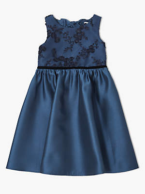 John Lewis & Partners Girls' Heart Back Lace Overlay Dress, Navy