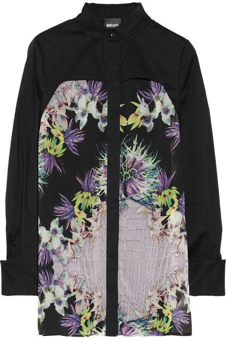 Just Cavalli Floral-print crepe and stretch-cotton shirt