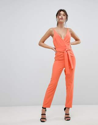 Asos DESIGN Wrap Front Jumpsuit With Peg Leg And Self Belt
