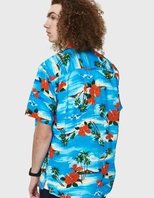 Gitman Brothers Aloha Rayon Camp Shirt in Blue