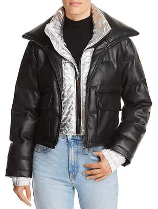 Bloomingdale's Sunset & Spring Sunset + Spring Metallic-Inset Leather Puffer Jacket - 100% Exclusive