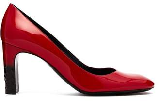 Bottega Veneta Intrecciato Patent Leather Pumps - Womens - Black Red