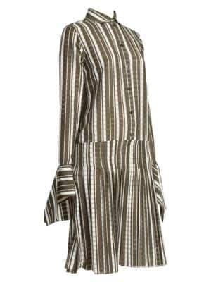 Rokh Detachable Cuff Check Shirt Dress