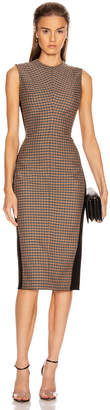 Victoria Beckham Sleeveless Darted Midi Dress in Black & Orange | FWRD