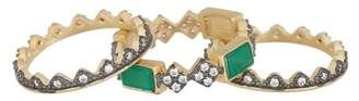Freida Rothman 14K Gold & Black Rhodium Plated Green Agate CZ Bar Harlequin Rings - Set of 3