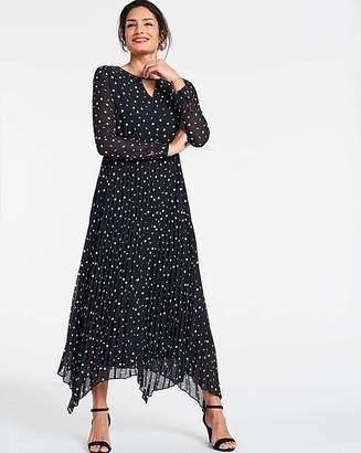 Jd Williams Polka Dot Print Pleated Midi Dress