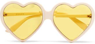 Gucci Heart-shaped Acetate Sunglasses - White