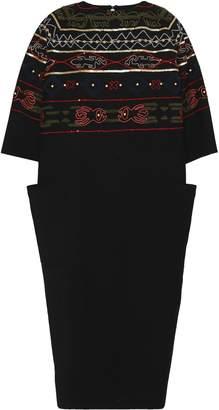 Stella Jean Embellished Wool-blend Midi Dress