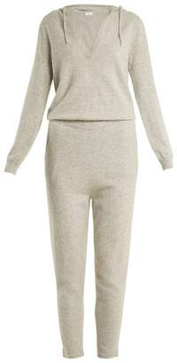 Allude Hooded V-neck cashmere jumpsuit