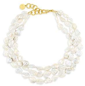 """Nest Women's Goldplated 16MM Baroque Freshwater Tiered Necklace/17"""""""