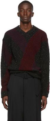Lemaire Multicolor Jacquard V-Neck Sweater