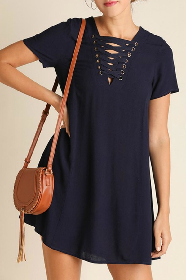 Umgee USA Navy Tie Dress