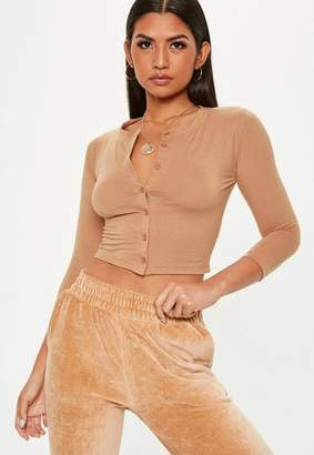 Missguided Nude Button Front Crop Top