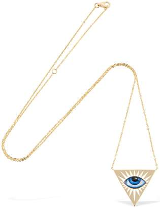 Lito Triangle Enameled Eye 14kt Gold Necklace