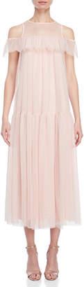 Blugirl Swiss Dot Ruffle Midi Dress