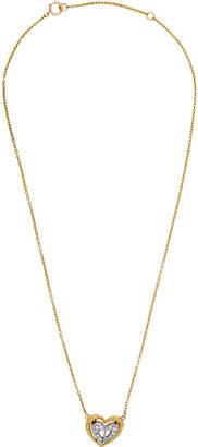 Christian Dior Estate 18K Two-Tone Pave Diamond Heart Pendant Necklace