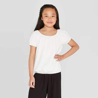 Art Class Girls' Short Sleeve Peasant Top - art class White
