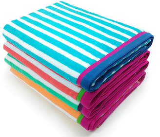 Beachcrest Home Tallowick Stripe Velour Beach Towel