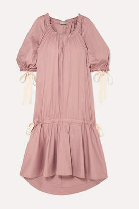 Chanel Lee Mathews - Elsie Gathered Cotton-blend Poplin Midi Dress - Blush