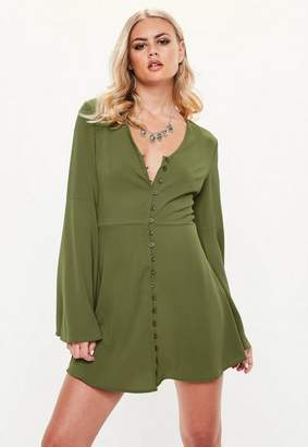 Missguided Khaki Button Up Flared Sleeve Skater Dress