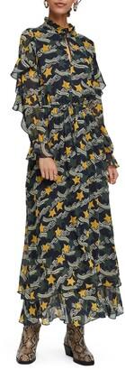 Scotch & Soda Print Long Sleeve Ruffle Maxi Dress