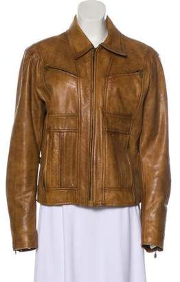 Belstaff Leather Zip-Up Jacket
