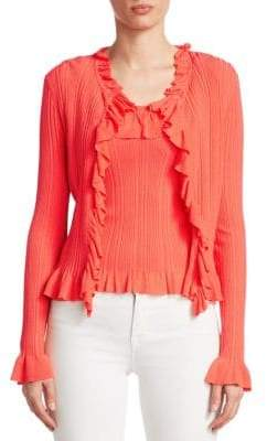 Saks Fifth Avenue COLLECTION Ruffle-Trim Ribbed Top