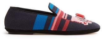 Loewe Needlepoint Slippers - Womens - Pink Navy