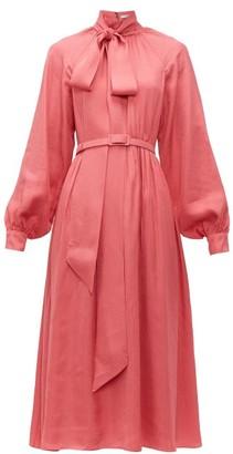 Erdem Heloisa Polka Dot Jacquard Crepe Midi Dress - Womens - Pink