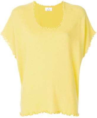 Allude cashmere lettuce trim T-shirt