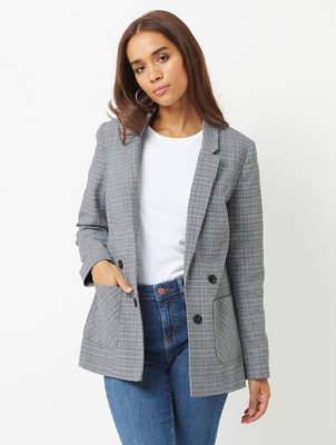 Blaze Light Grey Check Woven Tailored Blazer