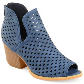 Co Brinley Womens Faux Leather Side-slit Open-toe Perforated Booties