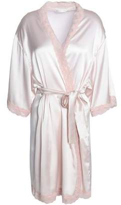 Mimi Holliday Corded Lace-Trimmed Silk-Blend Satin Robe