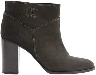 Chanel Grey Suede Boots