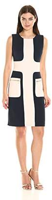Sharagano Women's Colorblock Sheath with Zip Pockets