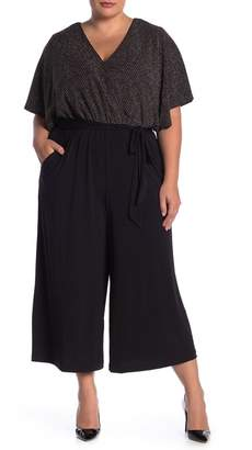 London Times Metallic Wrap Gaucho Jumpsuit (Plus Size)