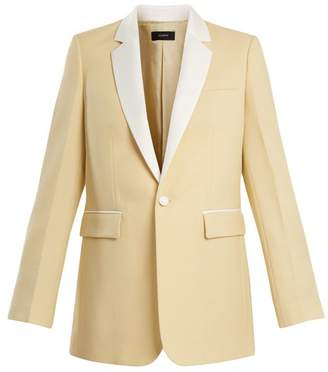 Joseph Jan Single Breasted Contrast Trim Wool Blazer - Womens - Light Yellow
