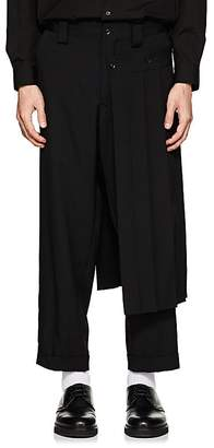 Yohji Yamamoto Men's Kilt-Detailed Wool Gabardine Crop Trousers