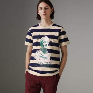 Burberry Bust Print Striped Cotton T-shirt