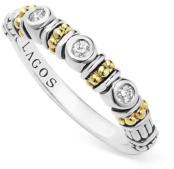 Lagos Sterling Silver Three Diamond Stacking Ring with 18K Gold Stations