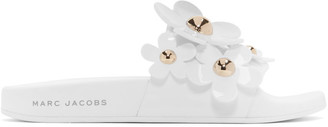 Marc Jacobs White Daisy Aqua Slides $150 thestylecure.com