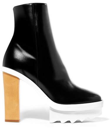 Stella McCartney - Faux Leather Platform Ankle Boots - Black