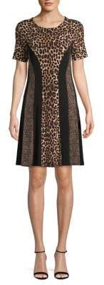 MICHAEL Michael Kors Cheetah Combo Short-Sleeve Dress