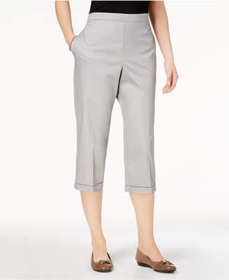 Alfred Dunner Petite Charleston Pull-On Lattice-Trim Capri Pants