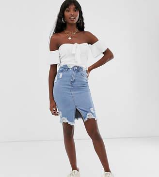 Missguided Tall distressed denim skirt