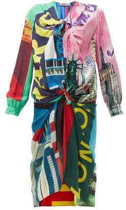 Balenciaga Knotted Scarf Midi Dress - Womens - Multi