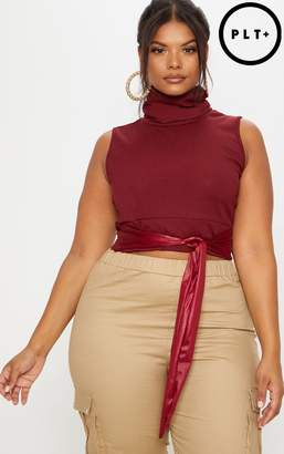 PrettyLittleThing Plus Burgundy Roll Neck Sleeveless Ribbed Crop Top