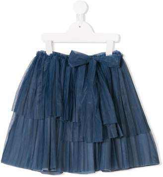 Douuod Kids bow waist crepe skirt